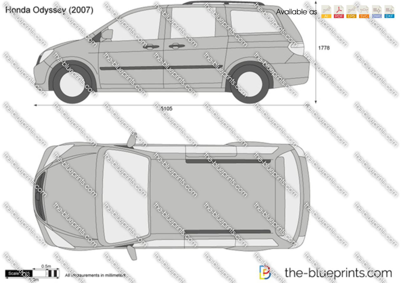 The vector drawing honda odyssey for Honda odyssey height
