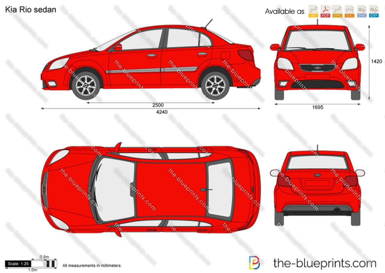 kia rio sedan vector drawing. Black Bedroom Furniture Sets. Home Design Ideas