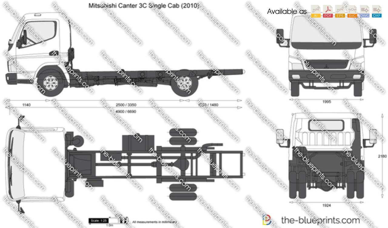 Mitsubishi Canter 3c Single Cab Vector Drawing