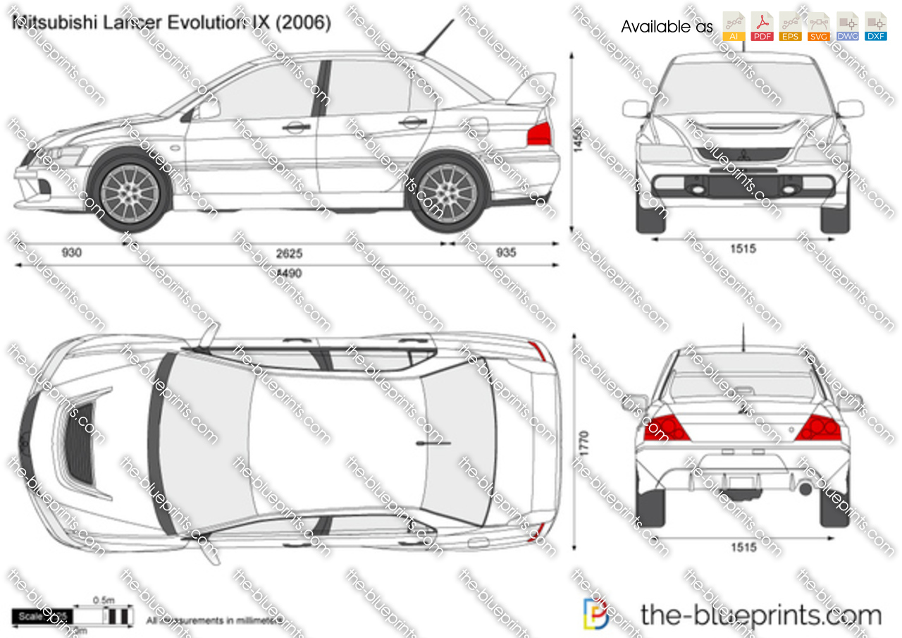 Mitsubishi Lancer Evolution IX vector drawing