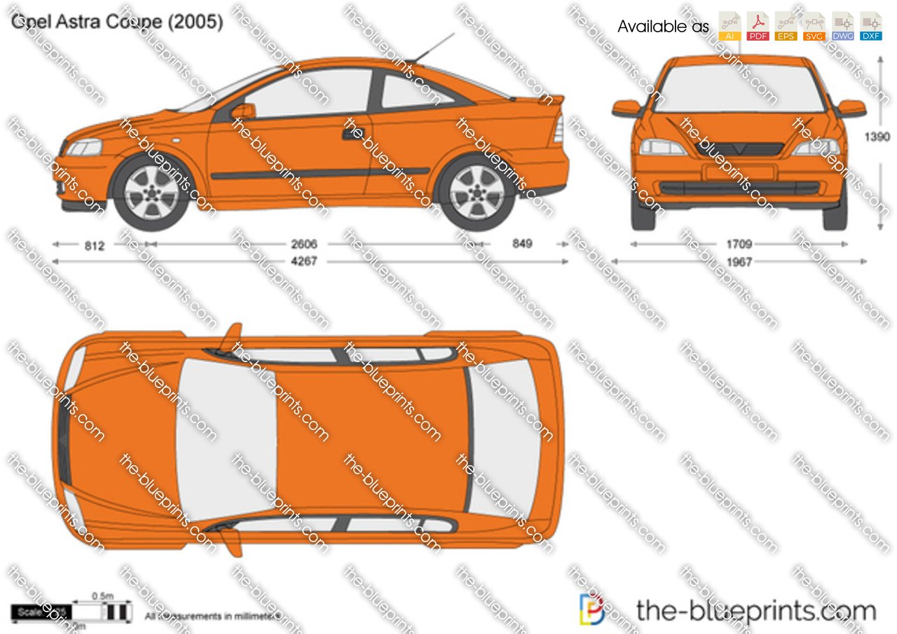 Opel Astra G Coupe Vector Drawing