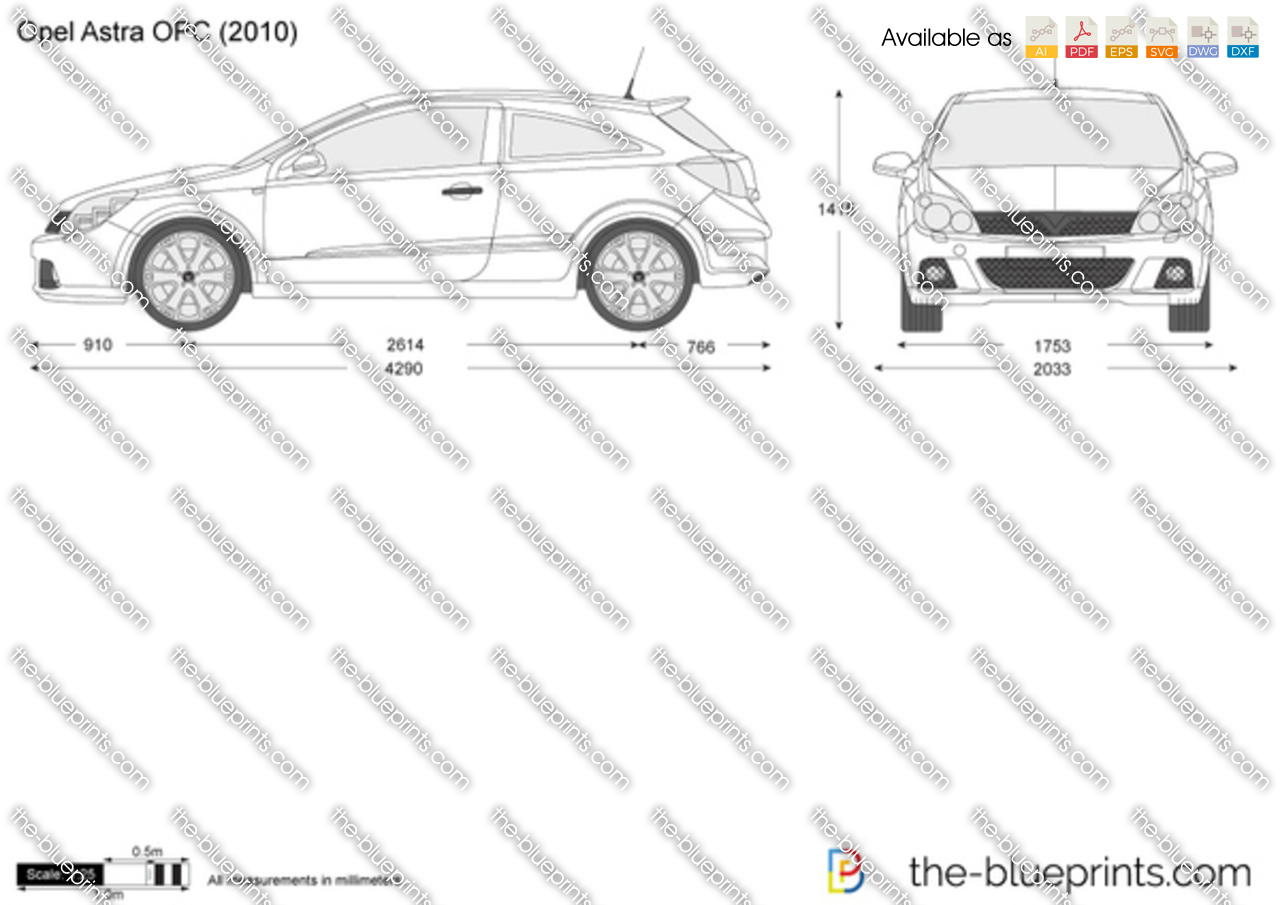 opel astra opc vector drawing