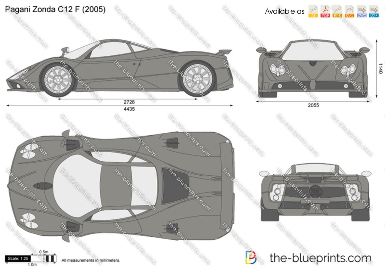 Pagani Zonda C12 F Vector Drawing