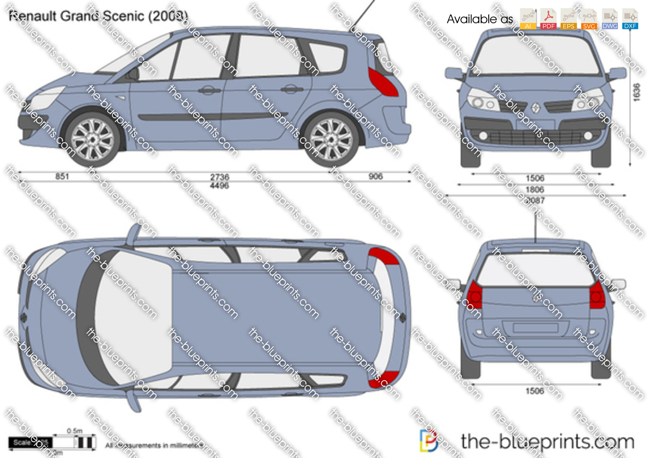 Renault Grand Scenic Vector Drawing