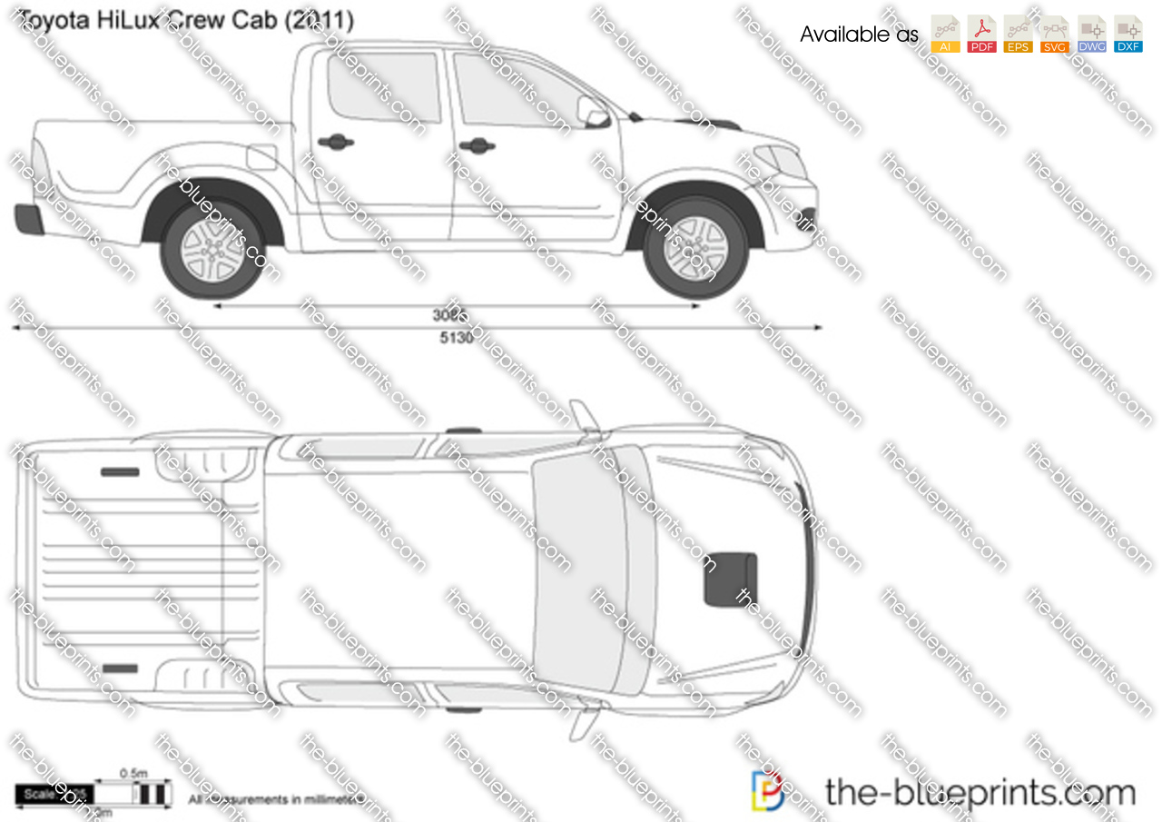 Free Hilux Blueprints: Toyota HiLux Vector Drawing