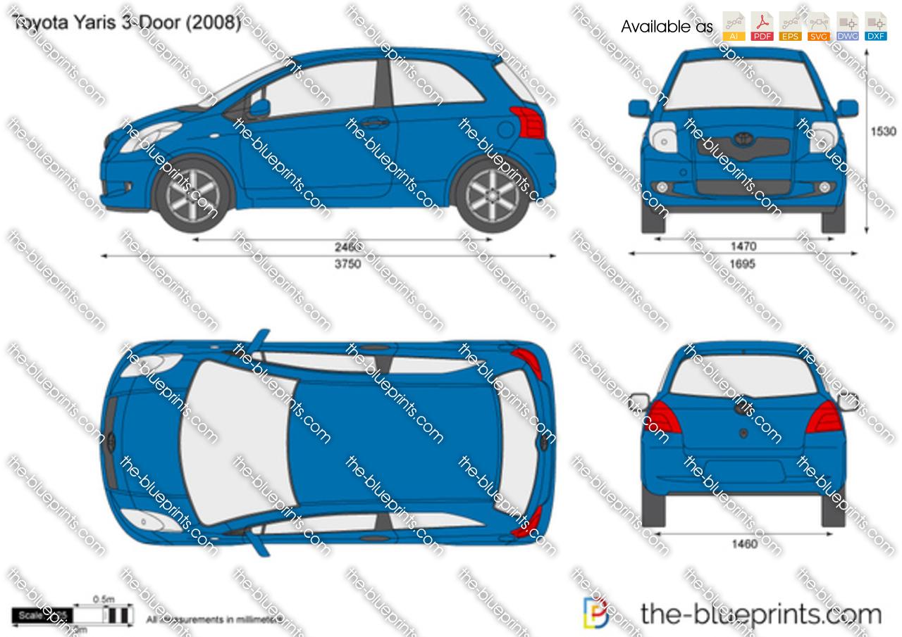 Toyota Yaris 3 Door Vector Drawing