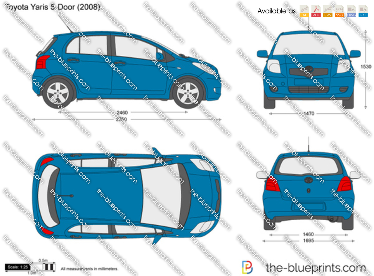 2005_toyota_yaris_5 door toyota yaris 5 door vector drawing