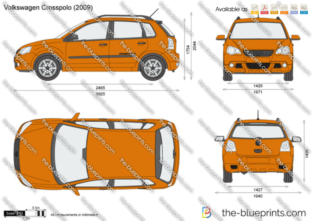 volkswagen crosspolo vector drawing. Black Bedroom Furniture Sets. Home Design Ideas