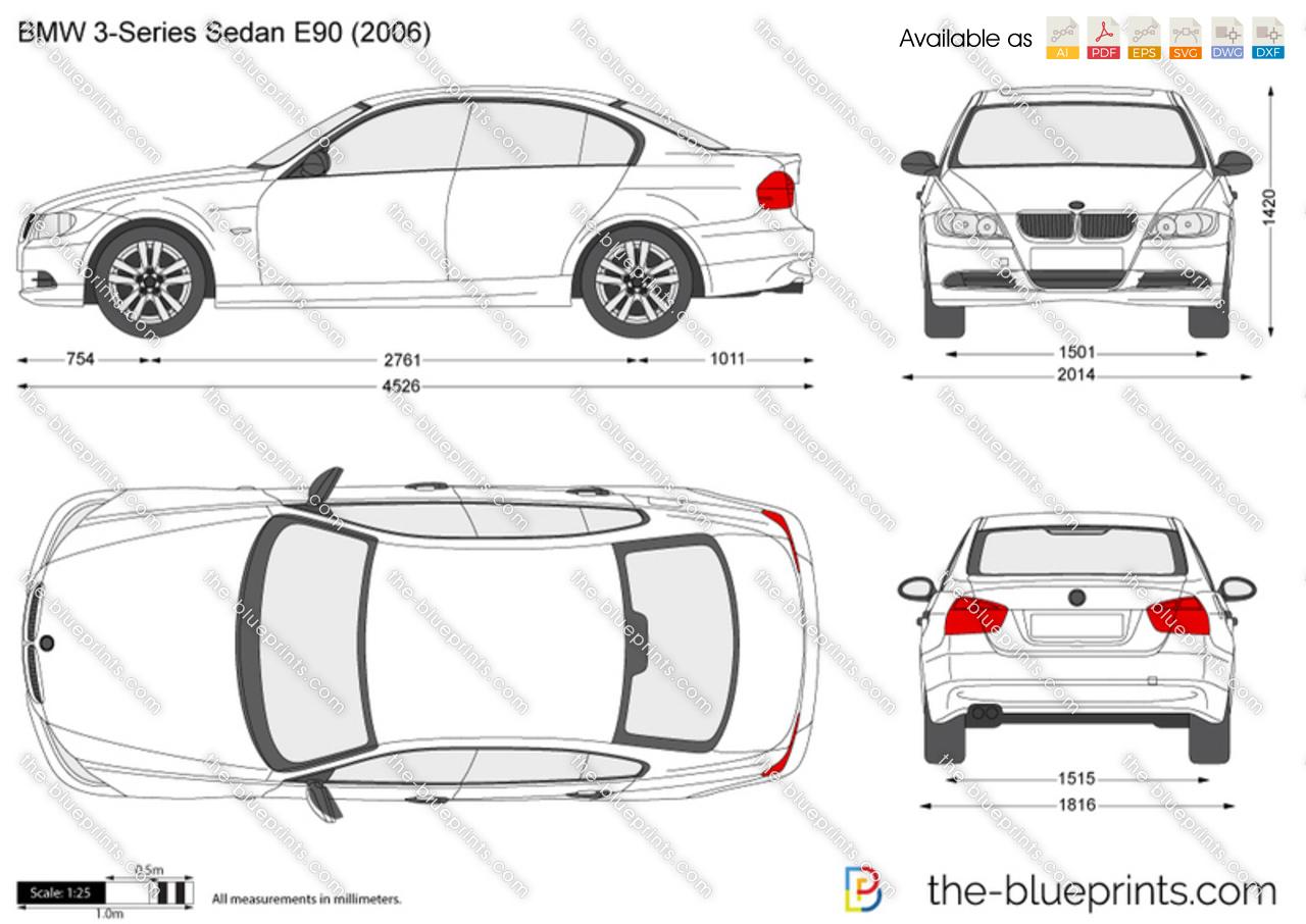 Bmw 3 Series Sedan E90 Vector Drawing