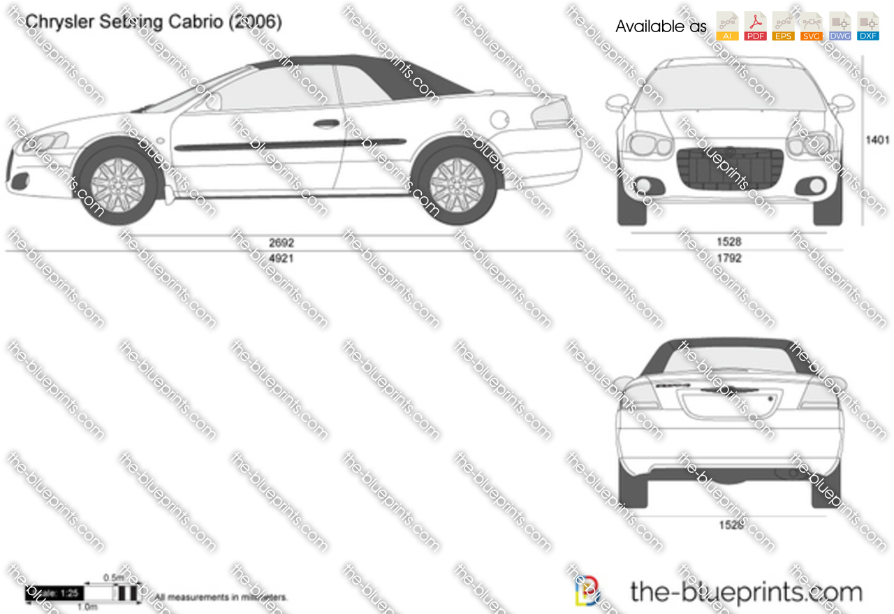 Chrysler Sebring Cabrio Vector Drawing
