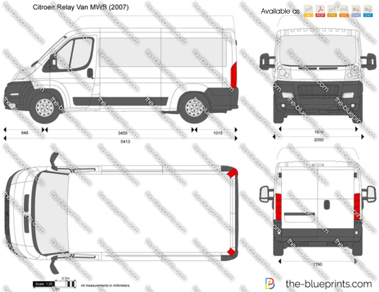 Citroen Relay Van Mwb Vector Drawing For Vehicle