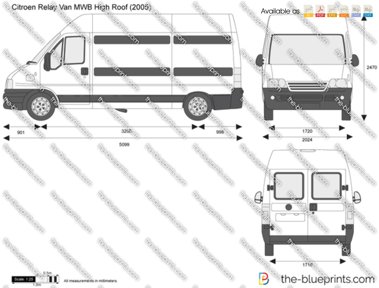 citroen relay van mwb high roof vector drawing. Black Bedroom Furniture Sets. Home Design Ideas