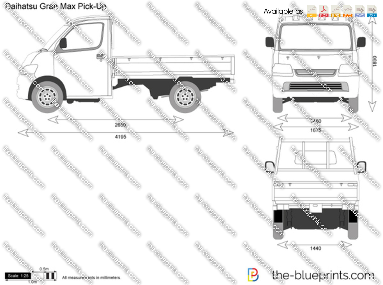 Daihatsu Gran Max Pick Up Vector Drawing