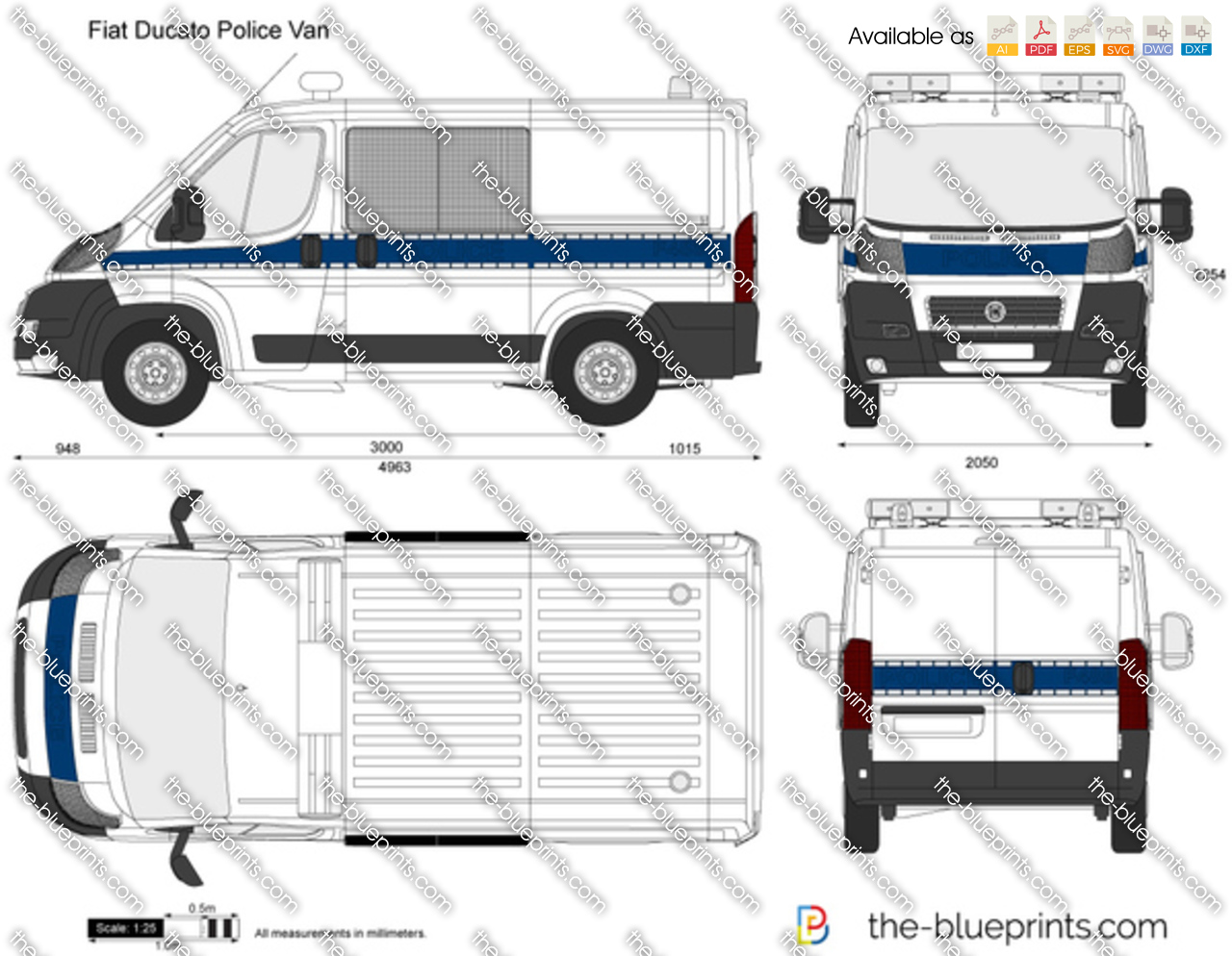 fiat ducato police van vector drawing. Black Bedroom Furniture Sets. Home Design Ideas