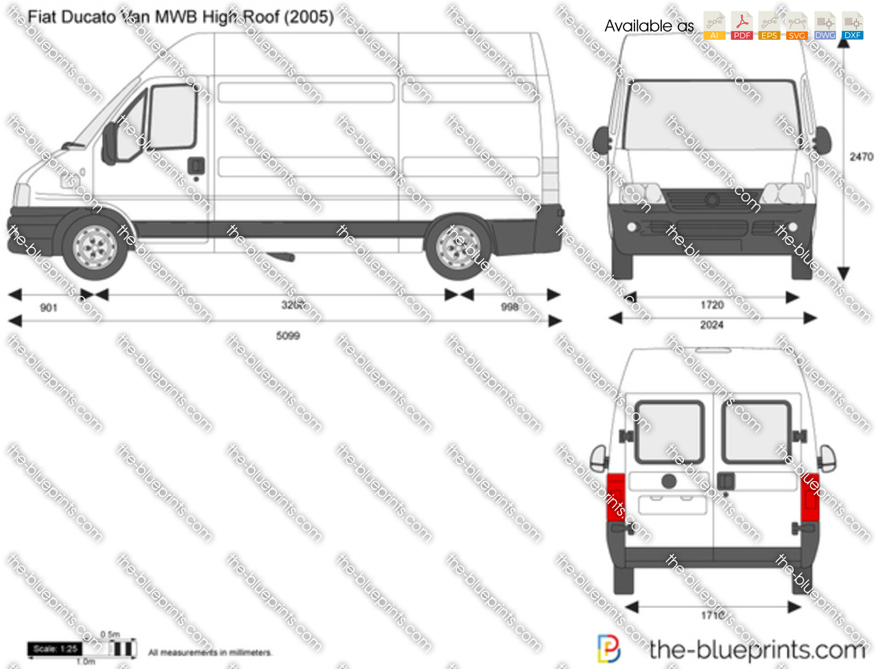 fiat ducato van mwb high roof vector drawing