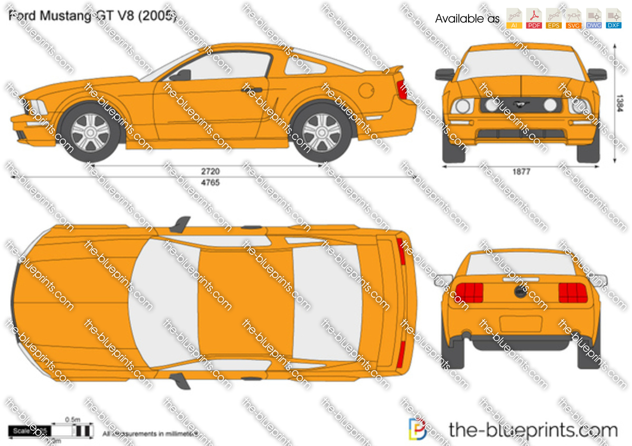 The Blueprints Com Vector Drawing Ford Mustang Gt V8