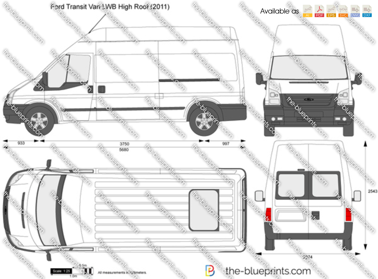 37668a0c61 Ford Transit Van LWB High Roof vector drawing