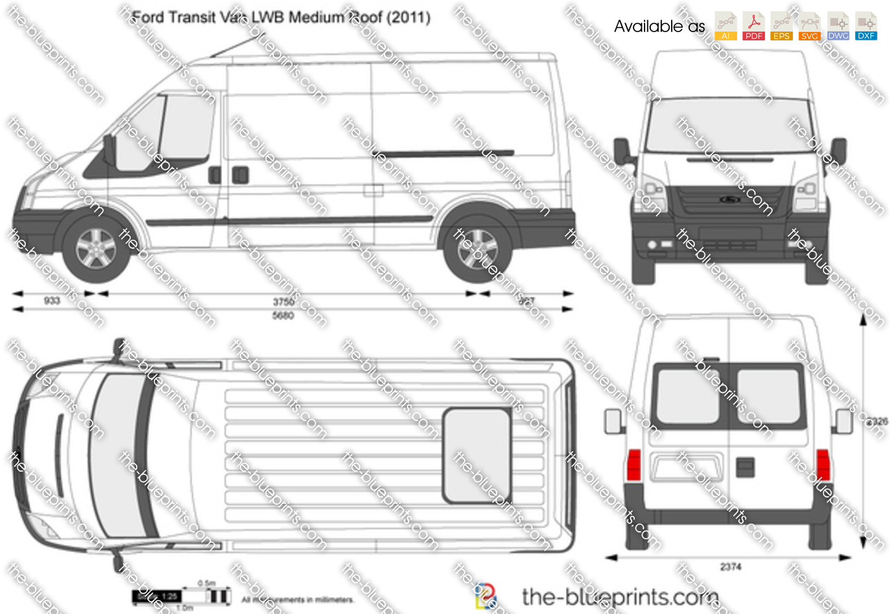 van sign writing templates - ford transit van lwb medium roof vector drawing