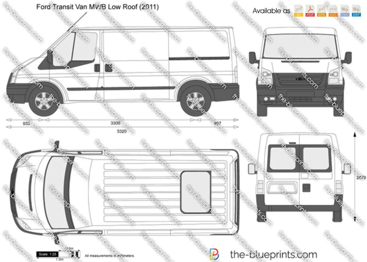 ford transit van mwb low roof vector drawing