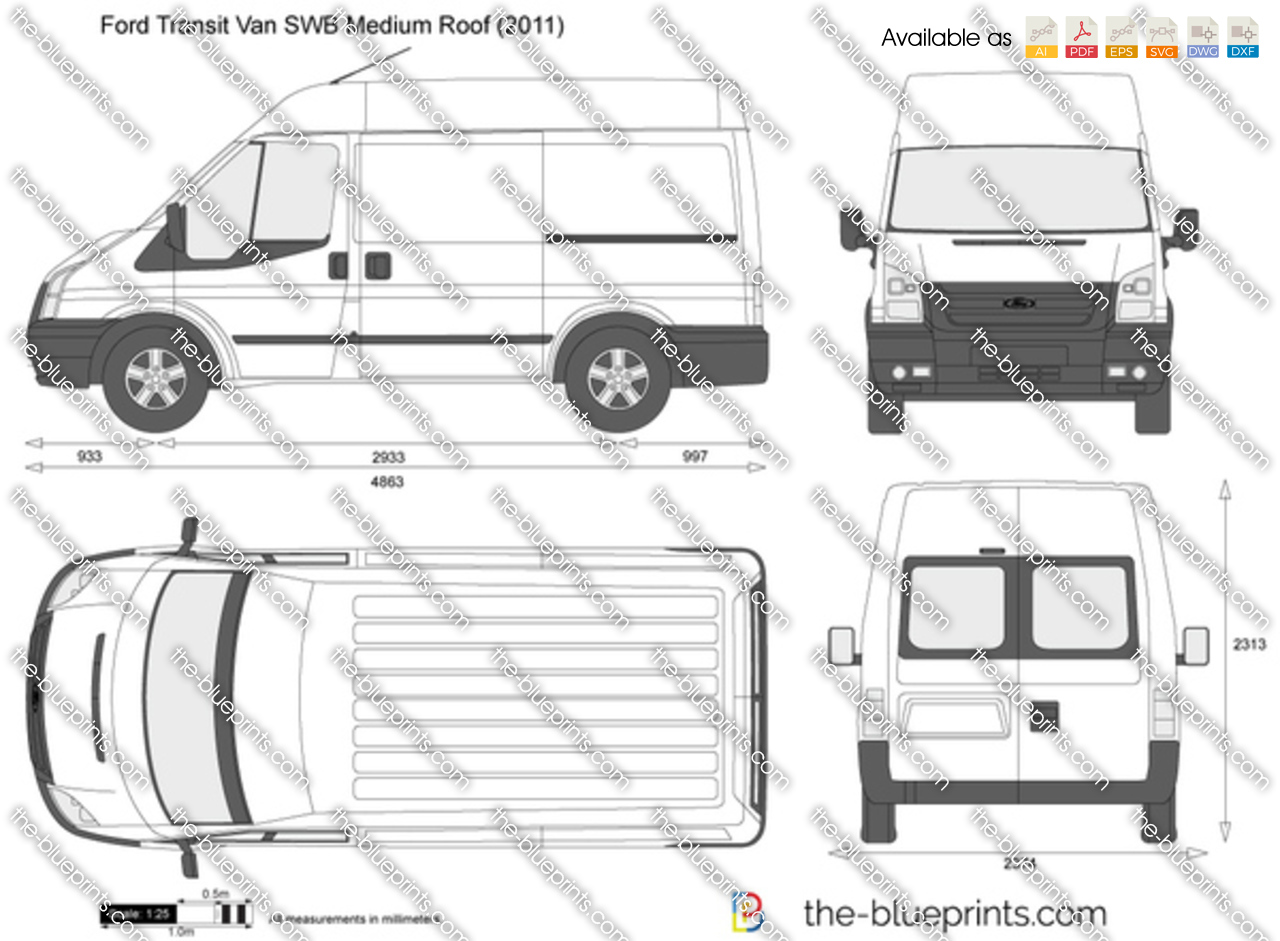 ford transit van swb medium roof vector drawing. Black Bedroom Furniture Sets. Home Design Ideas