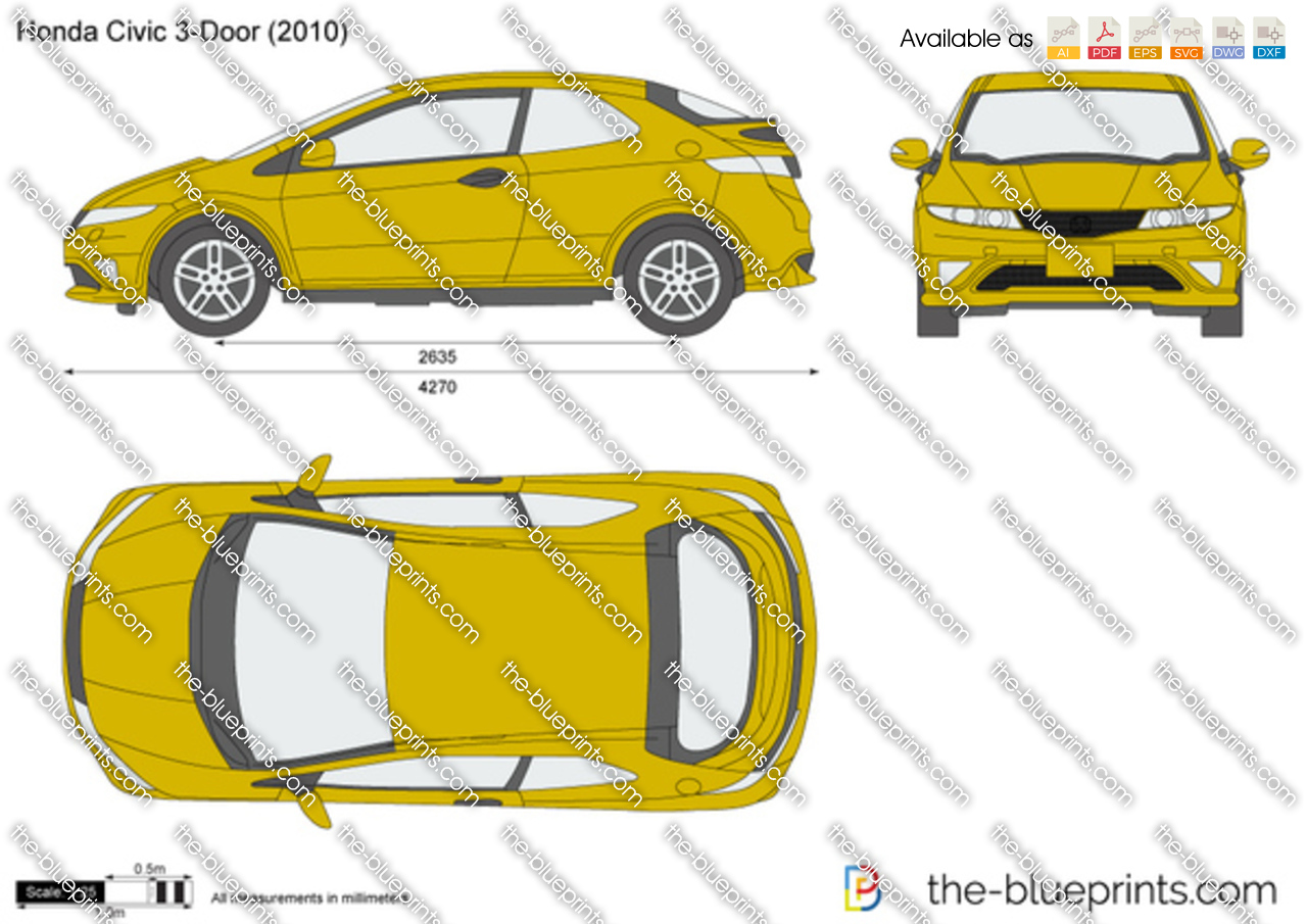 Honda Civic 3 Door Vector Drawing