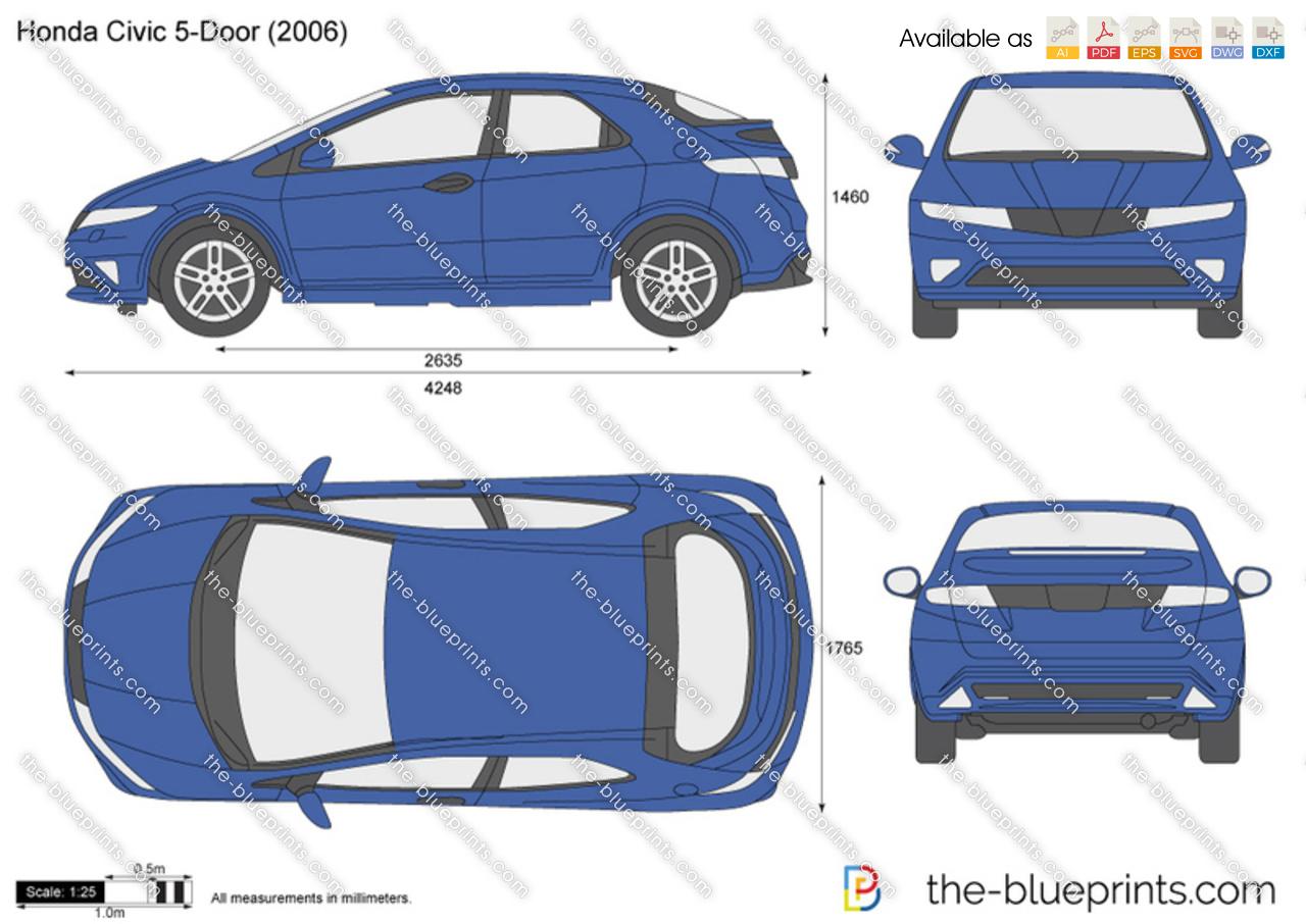 Honda civic 5 door vector drawing for Honda civic hatchback dimensions