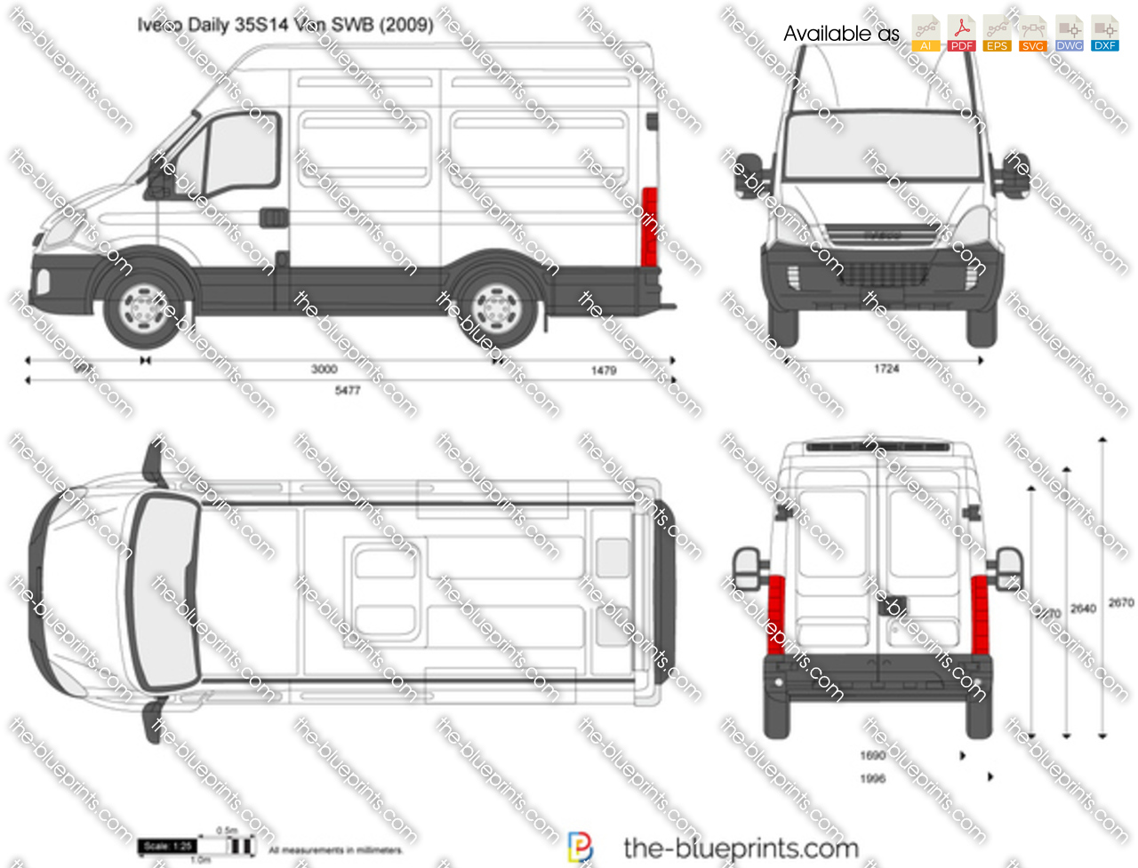 iveco daily 35s14 van swb vector drawing