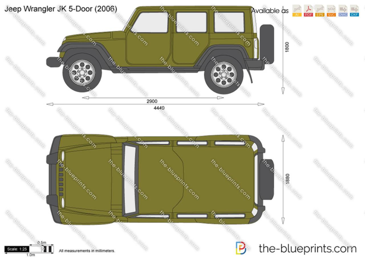 The Blueprints Com Vector Drawing Jeep Wrangler Jk 5 Door