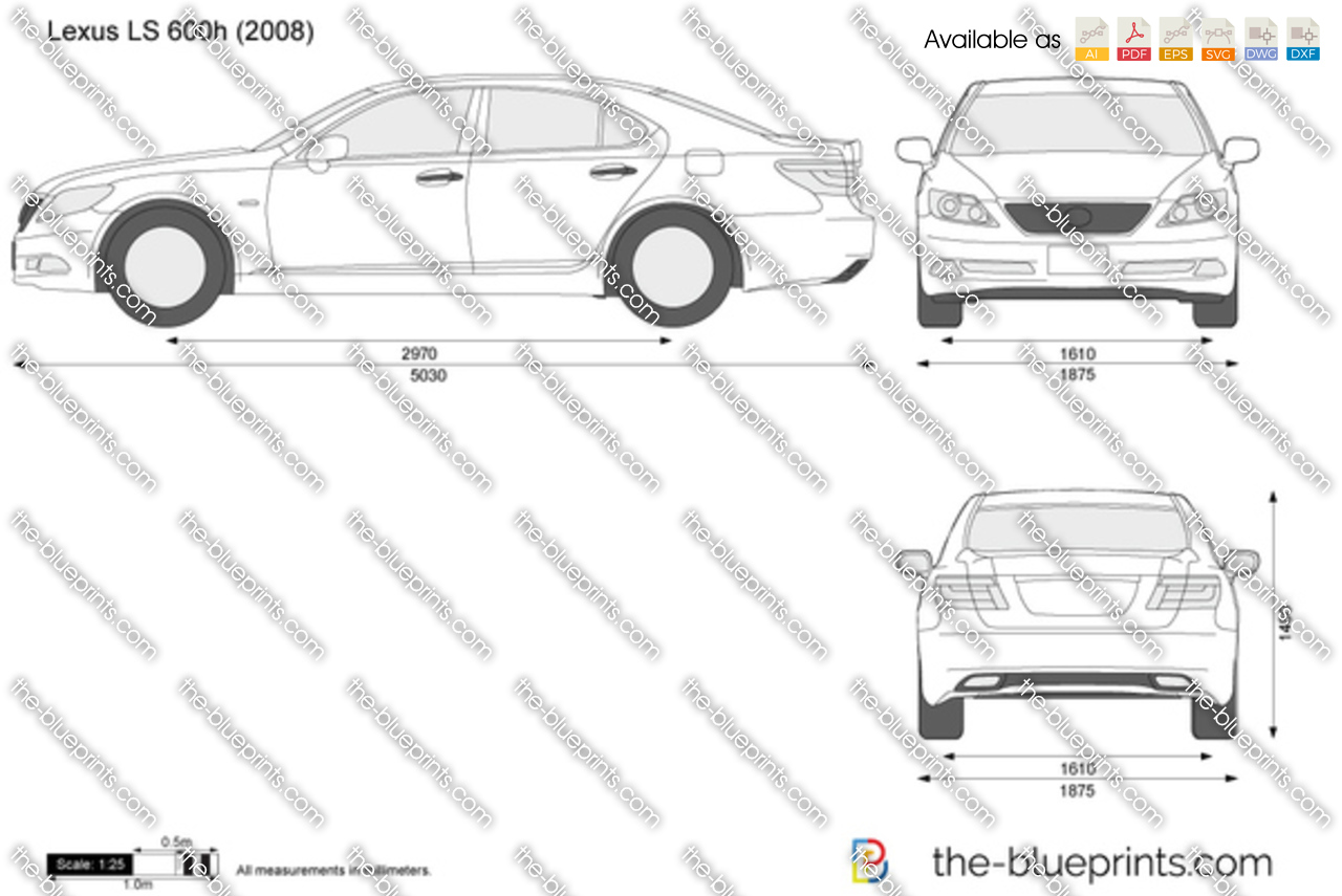 Lexus LS vector drawing