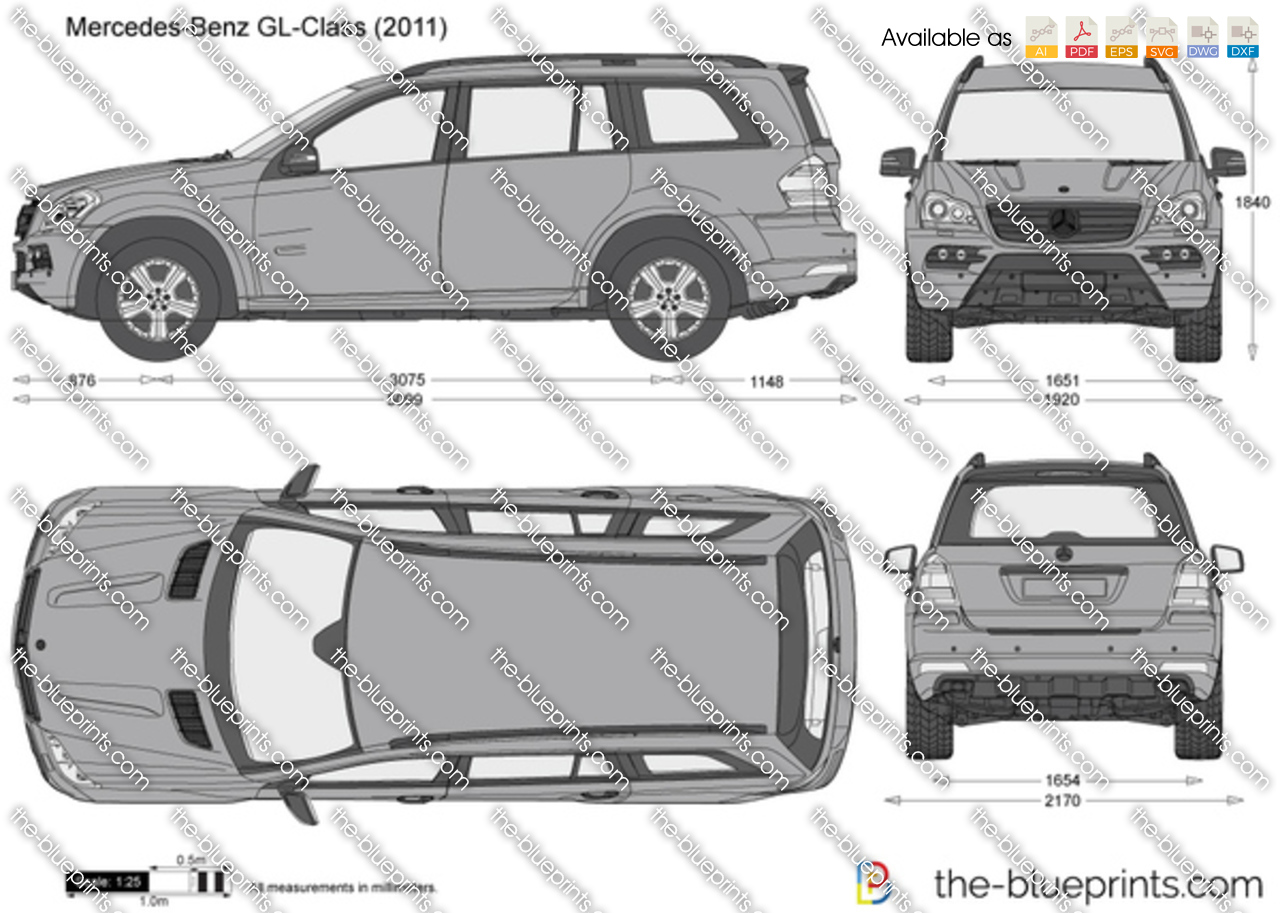 Mercedes Benz Gl Class X164 Vector Drawing