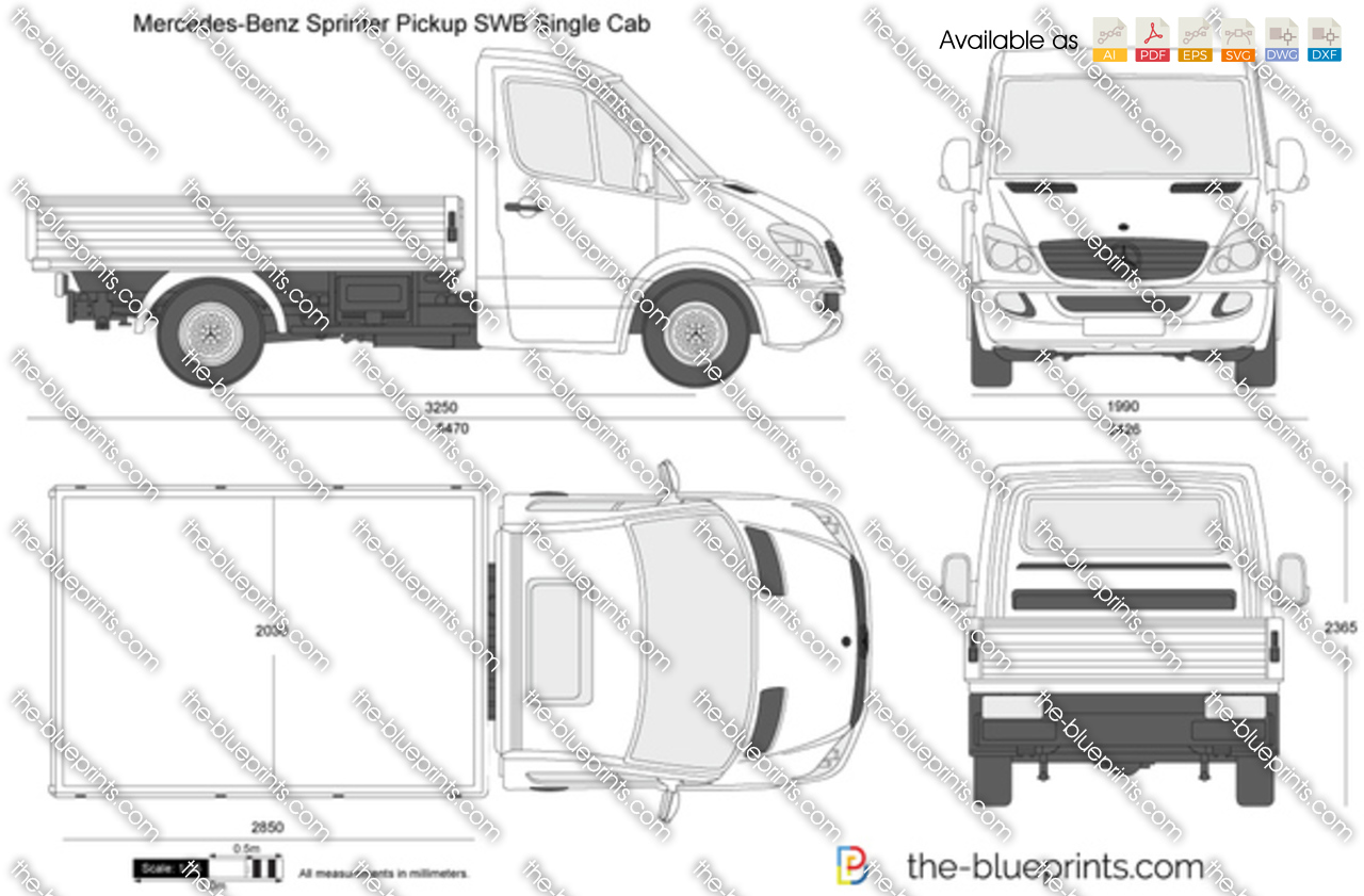 mercedes benz sprinter pickup swb single cab vector drawing. Black Bedroom Furniture Sets. Home Design Ideas