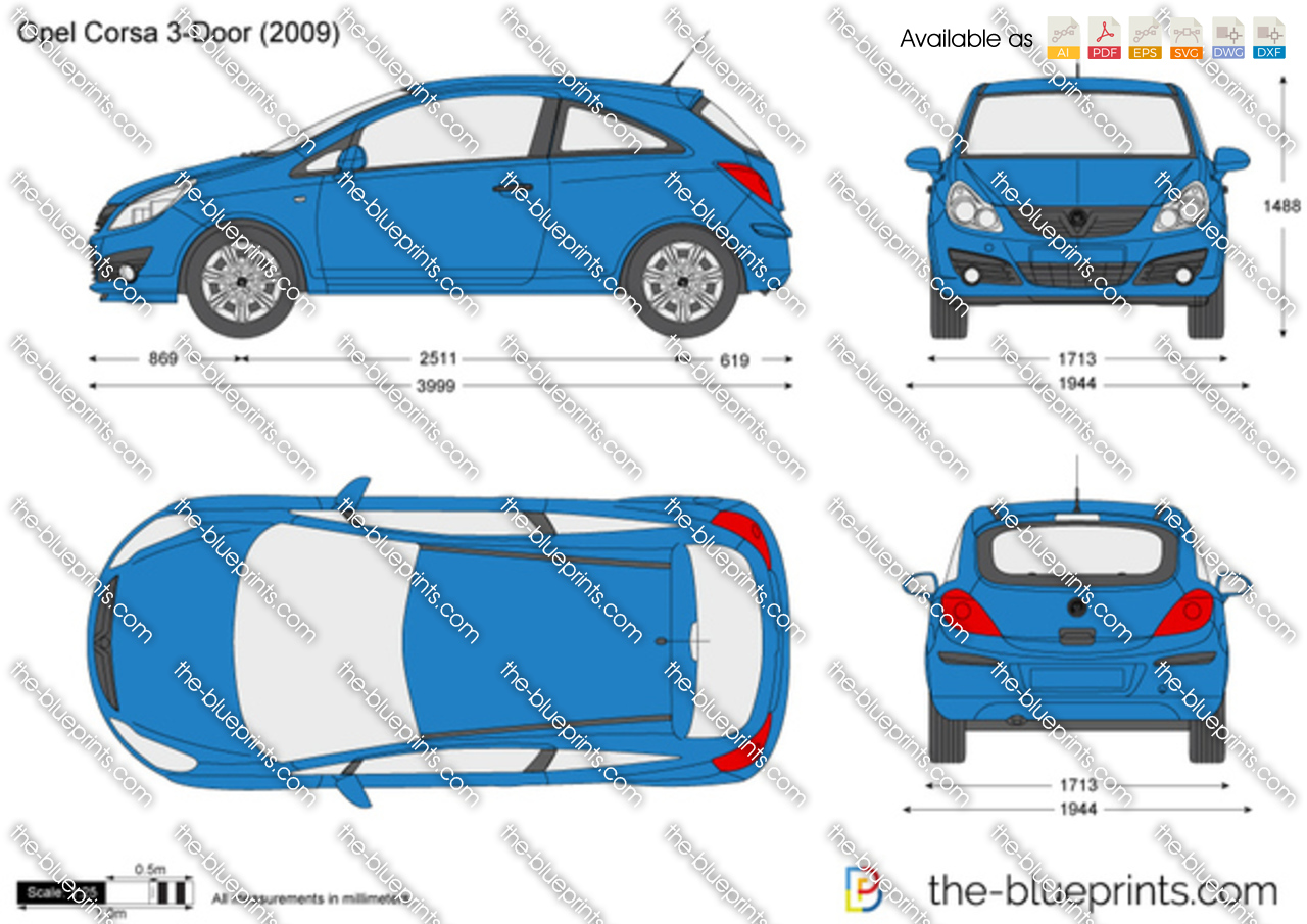 opel corsa d 3 door vector drawing. Black Bedroom Furniture Sets. Home Design Ideas