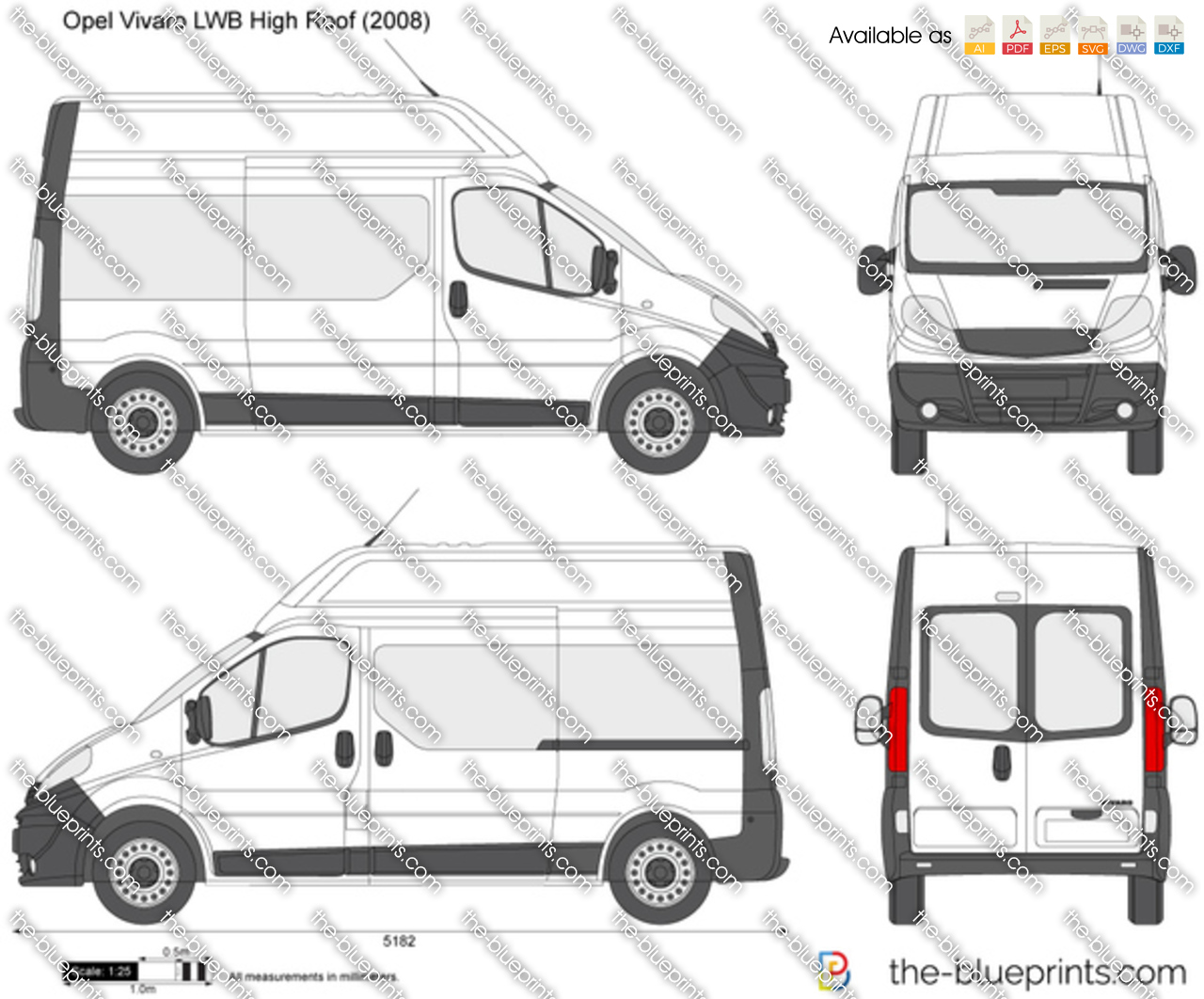 opel vivaro lwb high roof vector drawing. Black Bedroom Furniture Sets. Home Design Ideas