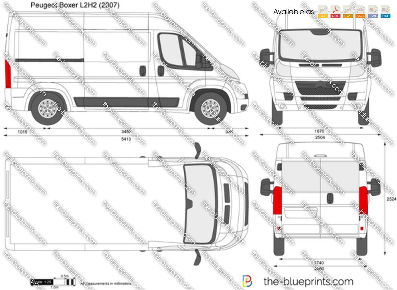 Peugeot boxer l2h2 vector drawing for Peugeot boxer dimensions interieures