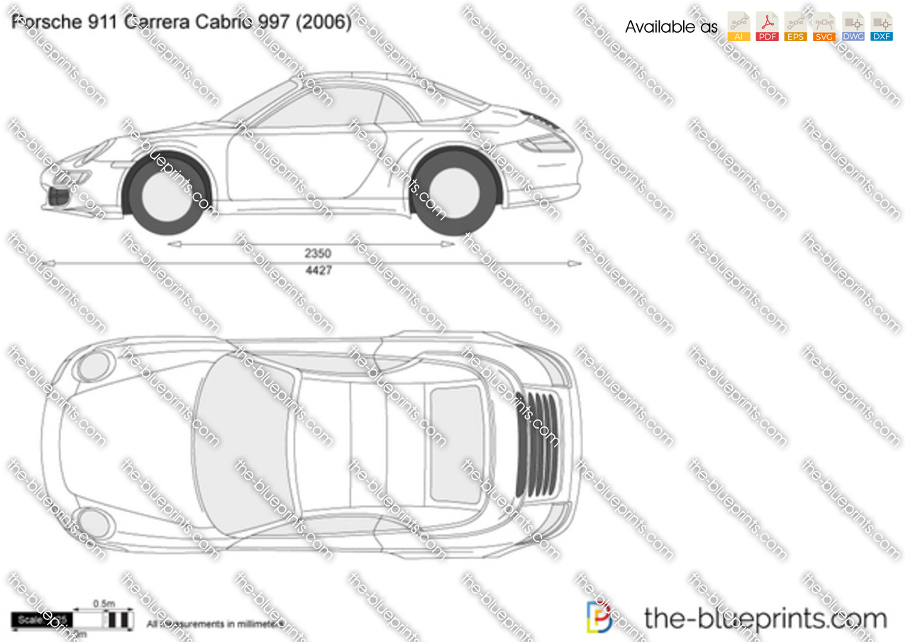 porsche 911 carrera cabrio 997 vector drawing