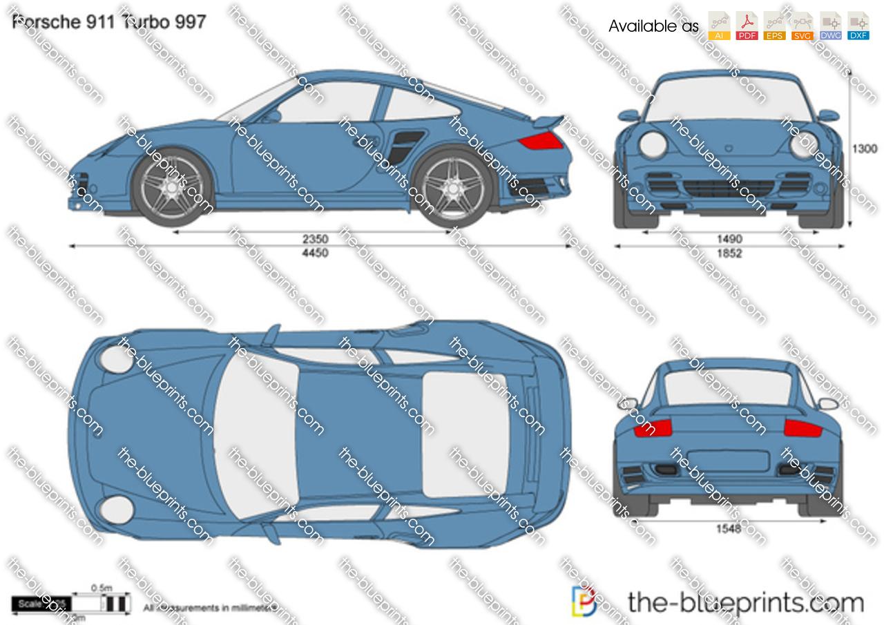 The Blueprints Com Vector Drawing Porsche 911 Turbo 997