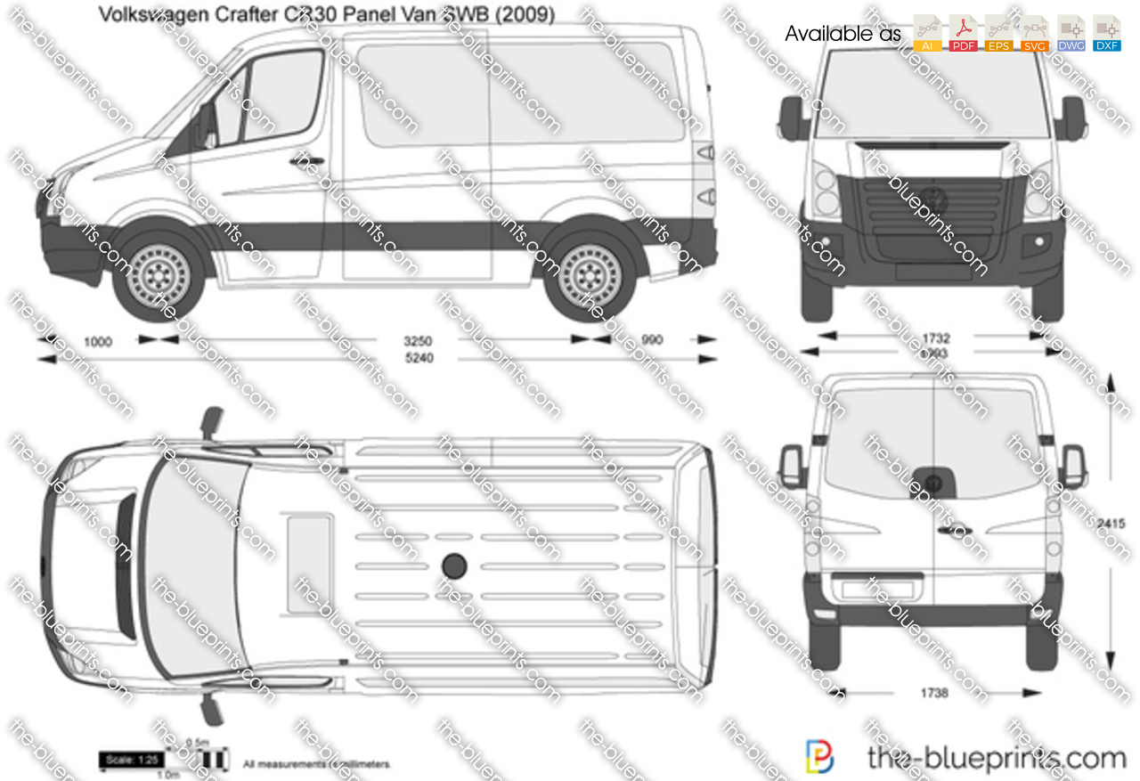 Volkswagen Crafter Cr30 Panel Van Swb Vector Drawing
