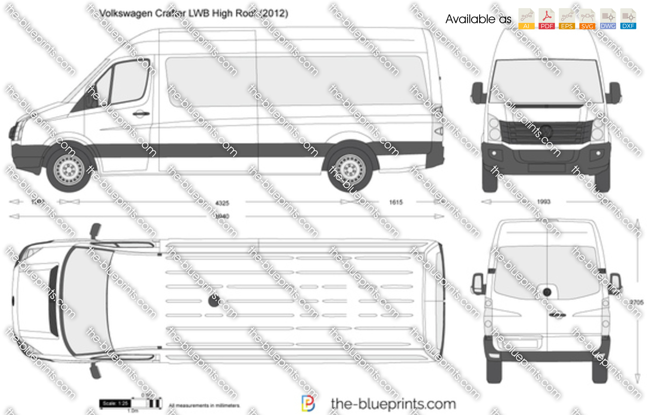 Ford Transit High Roof >> Volkswagen Crafter LWB High Roof vector drawing