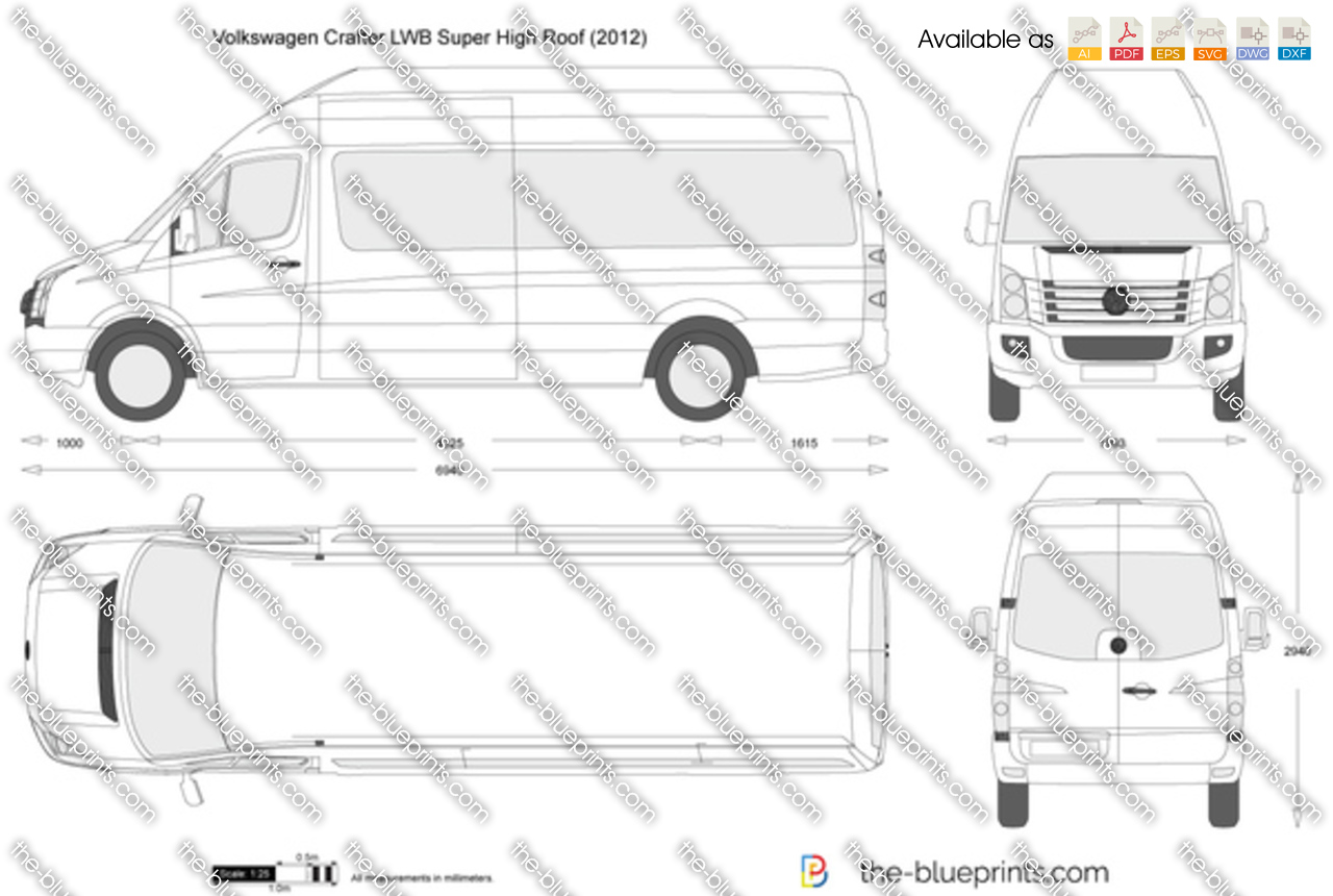 Volkswagen Crafter Lwb Super High Roof Vector Drawing