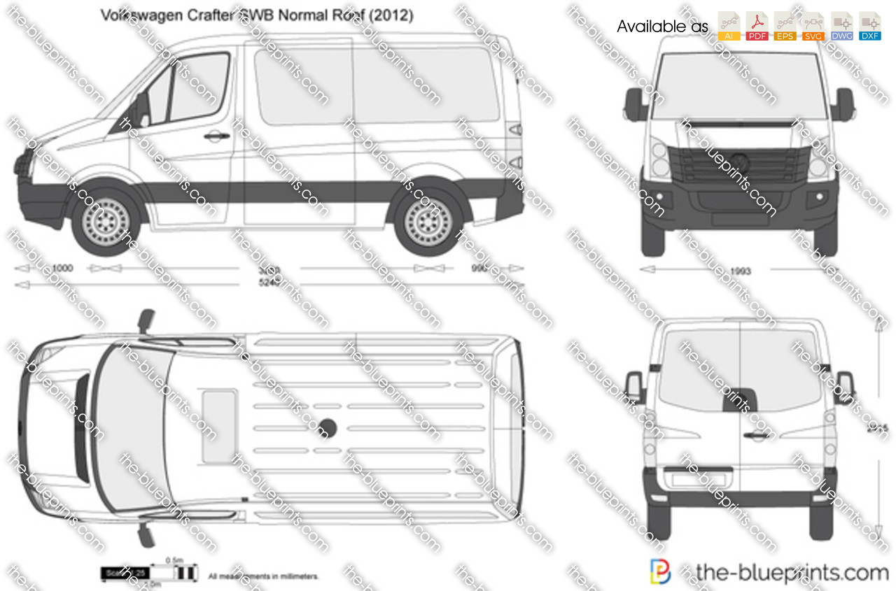Volkswagen Crafter SWB Normal Roof vector drawing