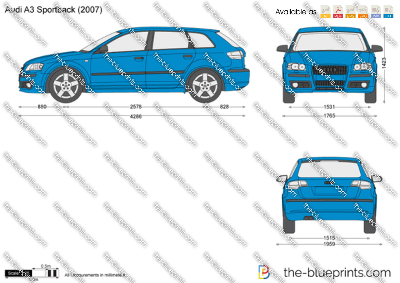 Audi a3 sportback vector drawing for Dimensioni audi a3 sportback 2008
