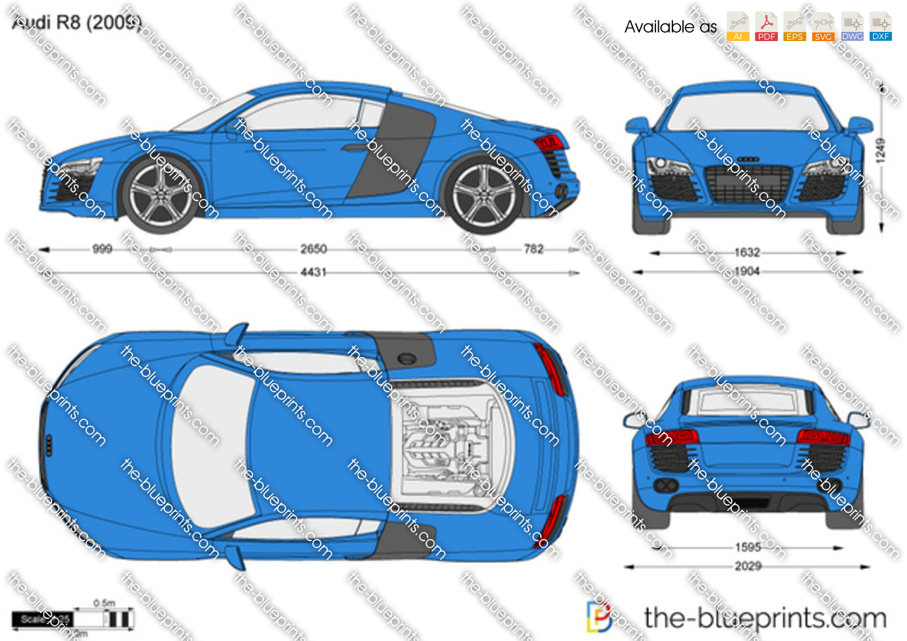 Audi R8 vector drawing