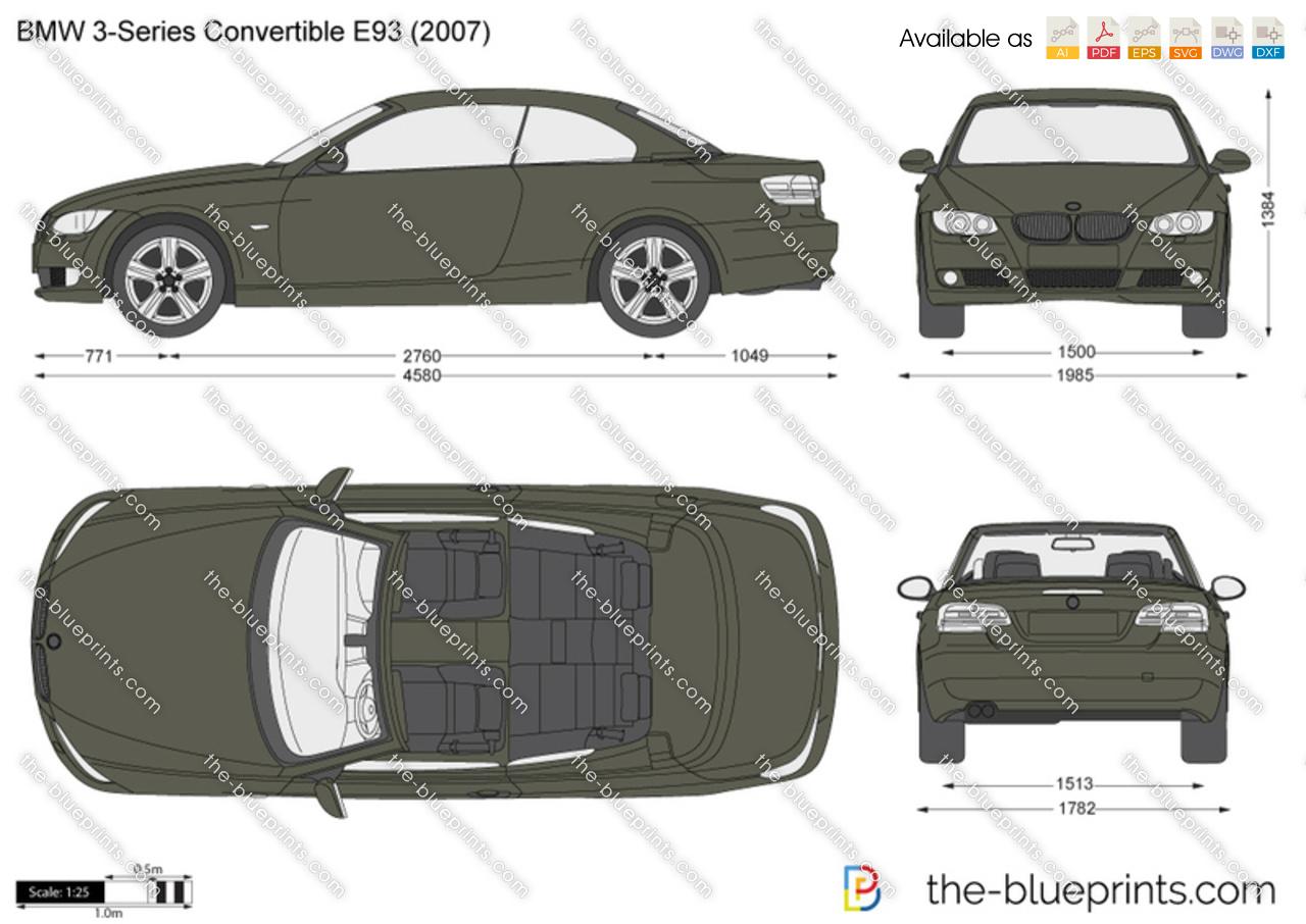BMW 3-Series Convertible E93 vector drawing