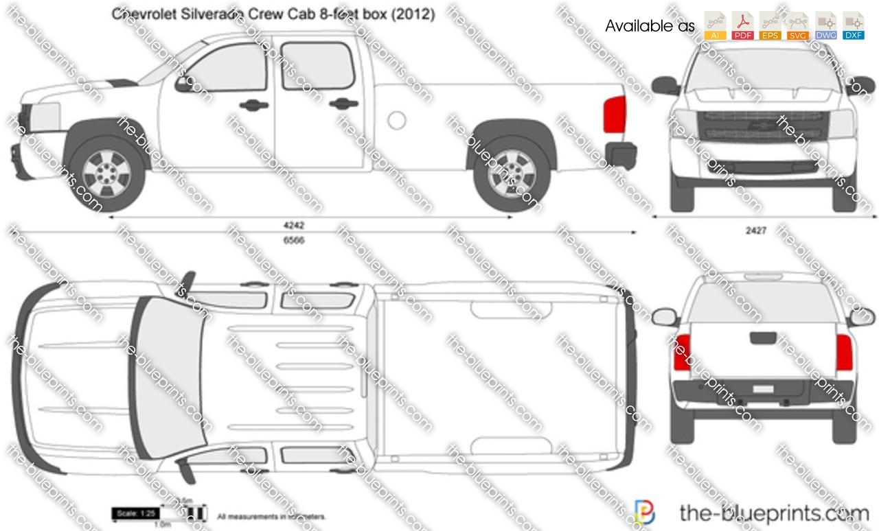TheBlueprintscom  Vector Drawing  Chevrolet Silverado Crew Cab