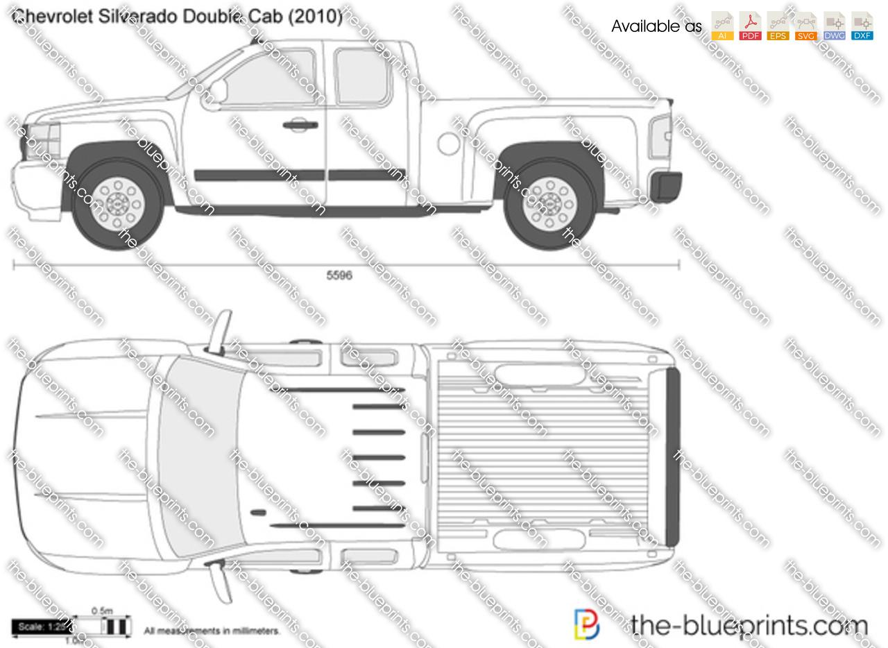 TheBlueprintscom  Vector Drawing  Chevrolet Silverado Double Cab
