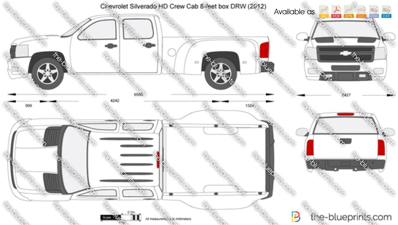 TheBlueprintscom  Vector Drawing  Chevrolet Silverado HD Crew