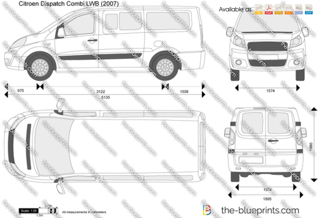 Citroen dispatch combi lwb vector drawing for Drawing blueprints online for free