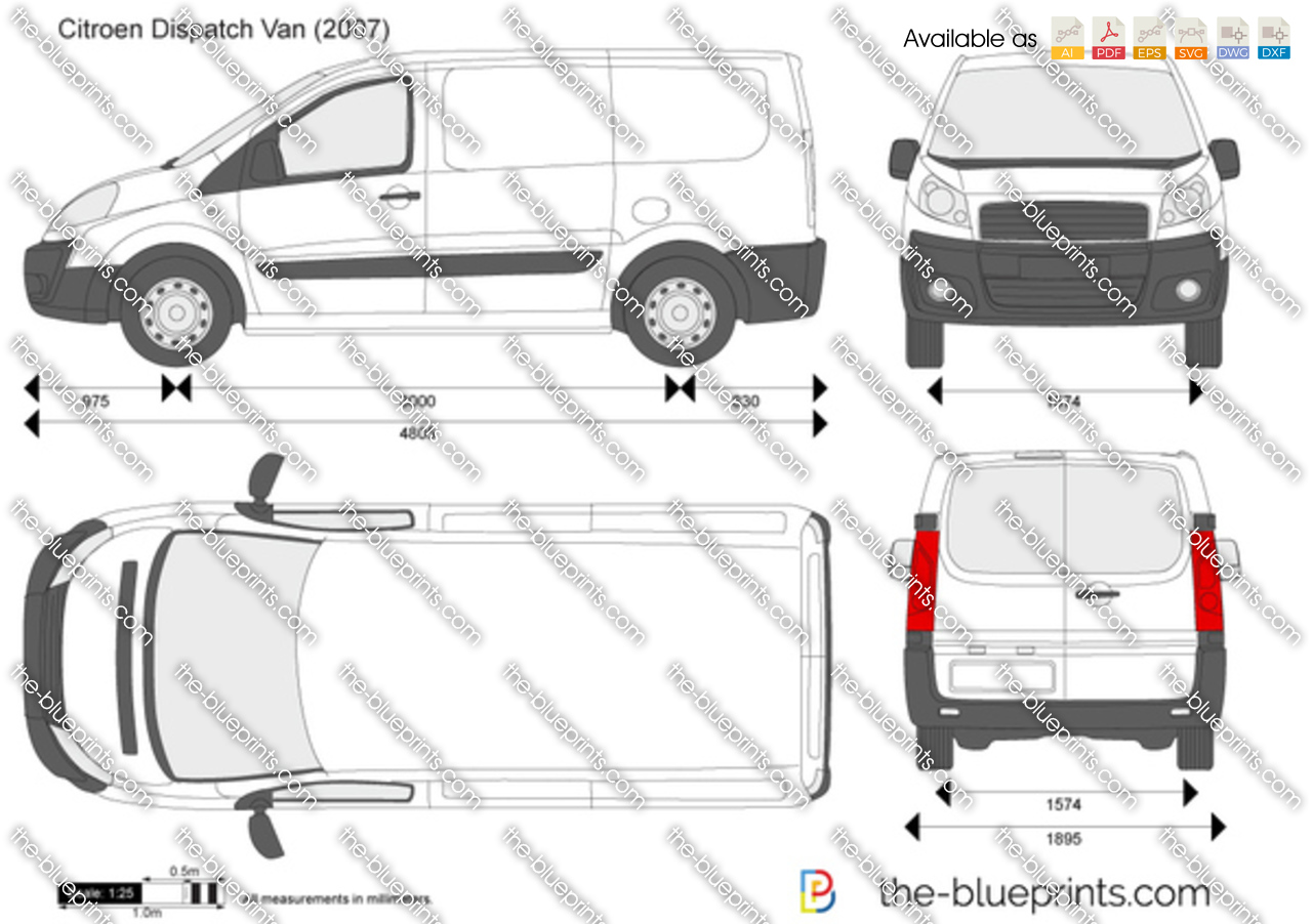 Citroen Dispatch Van Vector Drawing