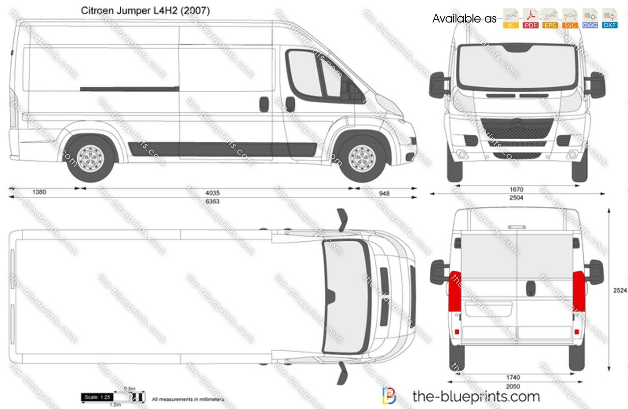 citroen jumper l4h2 vector drawing