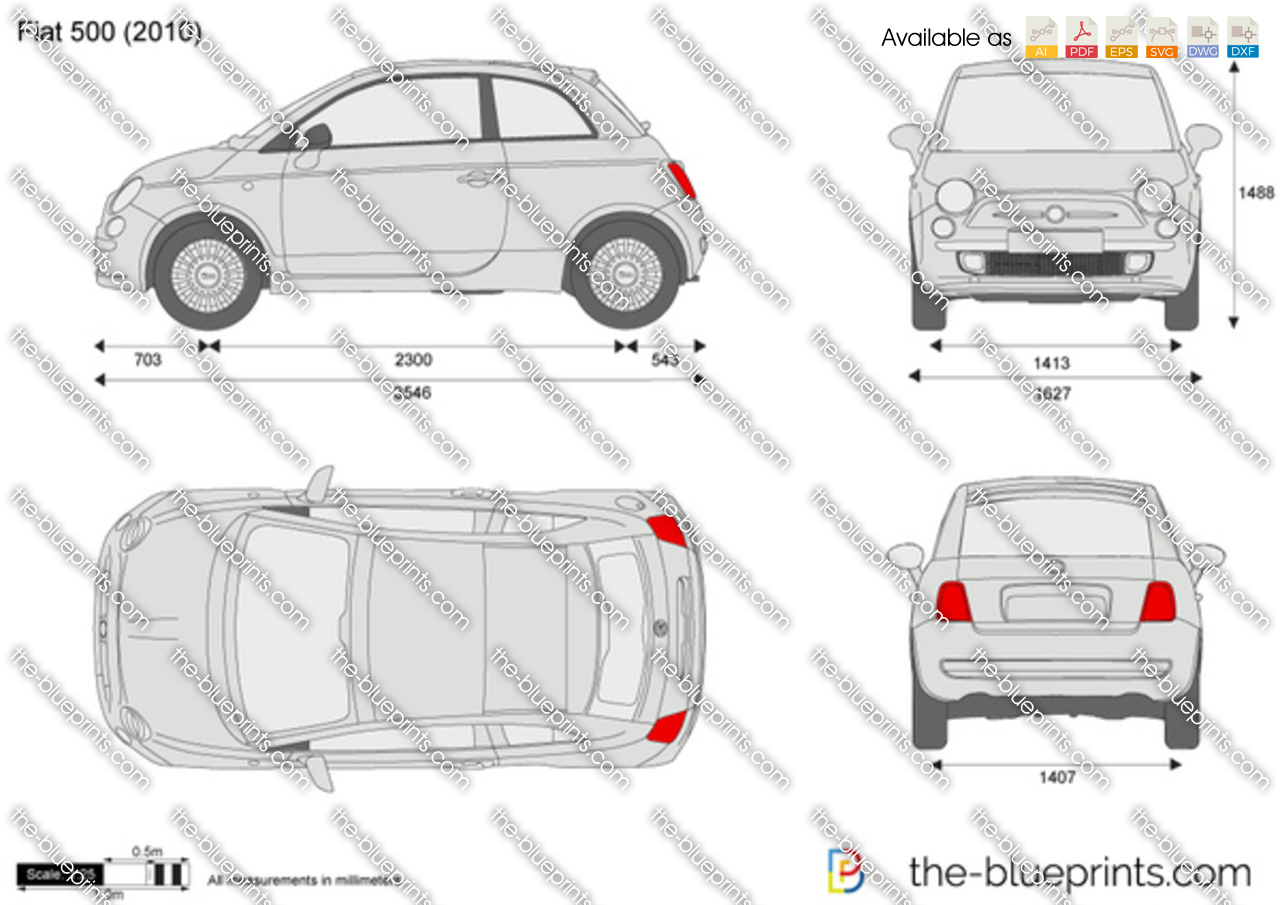 Fiat 500 vector drawing